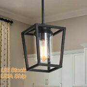 Industrial Black Pendant Lighting Vintage Cage Hanging Light With Clear Glass