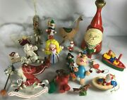 Wooden Christmas Ornaments Lot Of 18 Various Sizes +wooden Santa Bell Taiwan Etc