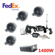 1400w Lcd Display Motorcycle Stereo Speaker Aux Usb Fm Radio Bt+amplifier -usa
