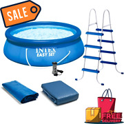 Intex 15and039 X 48 Inflatable Easy Set Above Ground Swimming Pool Ladder And Pump