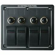 Boat 4 Gang Led Rocker Switch Panel And Circuit Breakers Marine/rv