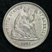 1861 Seated Liberty Half Dime Choice Unc Uncirculated Ms Free P/h E168 Jfr