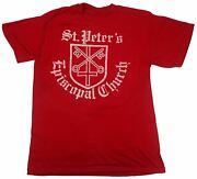 St. Peter's Episcopal Church Vintage Religious T Shirt Key Cross Logo Red Large