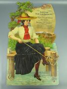 Antique American Fish And Oystser Company Large Advertising Art Poster California