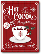 Goutoports Christmas Decor Signs Farmhouse Decorative Red Hot Cocoa Vintage Wall