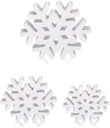 3 Pieces Christmas Home Sign Wooden Snowflake Table Snowflake Home Decor Winter