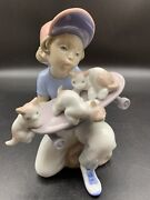 """Rare Lladro """"little Riders"""", 7623, Boy With Skateboard And 3 Kittens, Retired"""