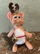 Annalee Christmas Mouse With Reindeer Antlers On 2018 Used