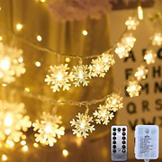 Aodini Christmas Lights 19.6 Ft 40 Led Snowflake String Lights Battery Operated