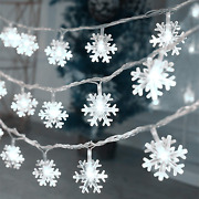 Christmas Lights 20 Ft 40 Led Snowflake String Lights Battery Operated Waterpro