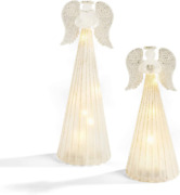 Christmas Angel Figurines With Lights - Set Of 2 Statues Frosted Glass Silver