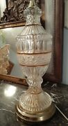 Beautiful Leaded Crystal Table Lamp Gold Accents Hollywood Regency 3 Way Switch