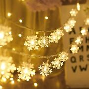 Christmas Snowflake Fairy String Lights Indoor Outdoor Battery Operated 10ft