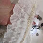 150cm Pleated White Lace Trim Beaded Pearl Braid Edge Ribbon Sewing Craft Fabric