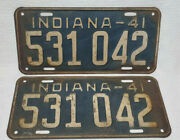Rare Vintage 1941 41 Indiana Pair Of License Plates 531042