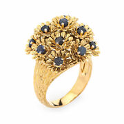 En Tremblant Sapphire Flower Ring Vintage 18k Yellow Gold Moves Dome Jewelry