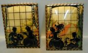 Silhouette Pictures, Kids, Toy, Doll, Globe, Books, Soldier, Framed Pair, 1940s