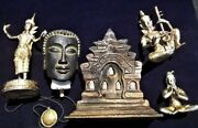 Vintage Lot Of Asian Wood, Metal, And Ceramic Collectibles - Various Countries
