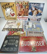 Reproduction Metal Beer Signs Lot Of 10 Budweiser, Miller, Guinness, Mancave