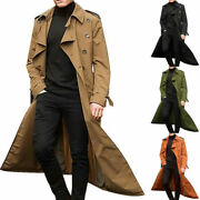 Menand039s Long Trench Coat Autumn Winter Warm Vintage Baggy Jacket Overcoat Outwear