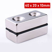 Neodymium Block Magnet 40x20x10mm N35powerful Rare Earth Double Hole Magnetic