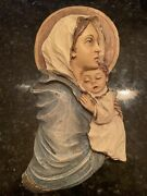 Vintage Madonna And Child Hand Carved Wooden Wall Hanging