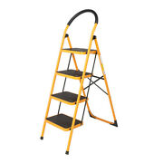 4 Steps Ladder Folding Anti-slip Safety Tread Industrial Home Use 330lbs Load Us