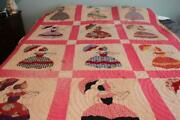 Vintage Southern Belle Lady With Umbrella Applique Quilt 70 X 80 Cutter