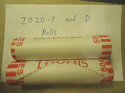 Rolls Of 2020-p And D Lincoln Pennies Sealed Both Head Tail C/s And H