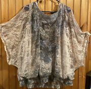 Womens Essentials Dressy Blouse Lace Sequins On Top Of Thin White Material 3x