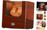 Dual Watch Winder For Automatic Watches Double Slots Wooden Box Pu Leather