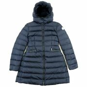 Moncler Charpal Hooded Downcoat Women And039s Navy 12/152cm Logo Patches 18 Make