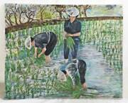 Painting Vietnam French Colonial Harvest Vintage Oil Rice Graceful Women Asia