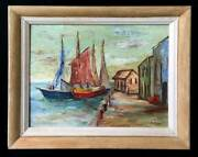 Antique Vintage Folk Art Painting Commercial Fishing Wharf Marine Petersen Boats