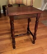 Antique Imperial Solid Mahogany Grand Rapids Plant Stand Or End Table