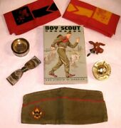 Vintage 1960s Lot Of Boy Scout Hat Bow Cup Scarf Book Bca Items