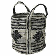 Benjara-tote Bag With Salvaged Leather Accent, Gray And Black