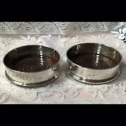 1983 P H Vogel And Co Pair Of Solid Silver Wine Bottle Coasters With Wooden Bases