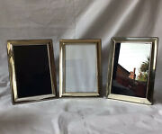 """Set Of Three 2012 Carrs Of Sheffield Solid Silver Rectangle Photo Frames 6"""" X 4"""
