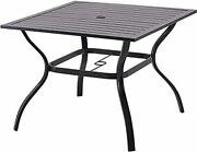 Patio Dining Table Outdoor Metal Square Table For 4 With Umbrella Hole