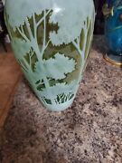 Cameo Art Glass Vase 20 Inches Tall Cased Glass Green Signed Yall