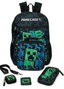 Minecraft 17 Backpack Creeper Lunch Set W/ Lunch Bag Earbud Case Lanyard 4 Bags