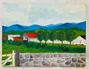 Folk Art Naive Vintage Original Architecture Country Painting Farm Stone Wall Gy