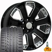 5660 Black And Chrome 22x9 Wheels And Goodyear Tires Fits Gmc Chevrolet Cadillac