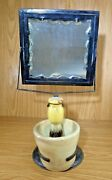 Antique Shaving Stand With Thick Scallop Cut Glass Mirrow Plus Bowl And Brush