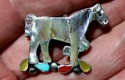Handmade Zuni Leekity Sterling Silver And Horse Pendant/pin Turquoise Coral Shell