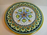 Deruta Hand-decorated Plate 8 Signed Italy Floral Yellow Blue Orange Excellent