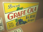 Grape Ola For Sale Here- Country Store Gas Station Sign -shows A Bunch Of Grapes