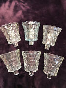 6 Clear Cubist Pressed Glass Pegged Votive Cup Candle Holder Homco Home Interior