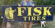 Antique Vintage Large Boy With Candle Fisk Tires Metal Embossed Tin Sign